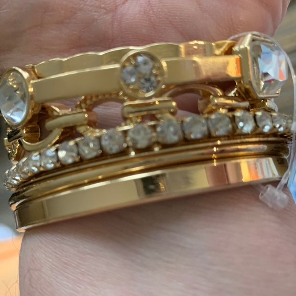 INC International Concepts Jewelry - 6, yes 6!  Gold tone with cystal bangle braclet